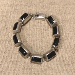 Sterling Silver & Black Bracelet